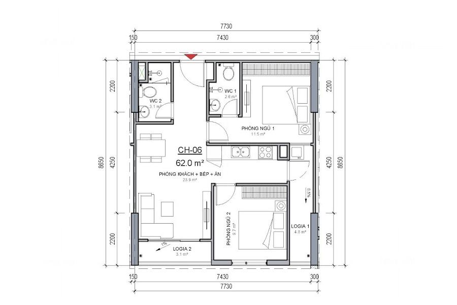 Căn hộ 62m hai phòng ngủ và cách bố trí sofa góc phòng khách